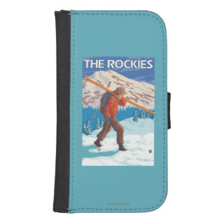 Skier Carrying Snow Skis - The Rockies Samsung S4 Wallet Case
