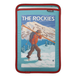 Skier Carrying Snow Skis - The Rockies Sleeve For MacBook Air