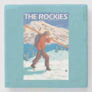 Skier Carrying Snow Skis - The Rockies Stone Coaster