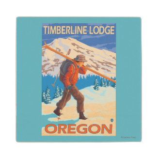 Skier Carrying Snow Skis - Timberline Lodge, OR Wood Coaster