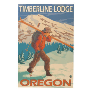 Skier Carrying Snow Skis - Timberline Lodge, OR Wood Wall Art