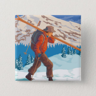 Skier Carrying Snow Skis- Vintage Travel 15 Cm Square Badge