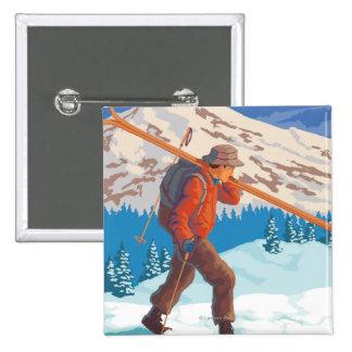 Skier Carrying Snow Skis- Vintage Travel 15 Cm Square Badge