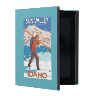 Skier Carrying Snow Skis- Vintage Travel 2 Case For iPad