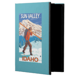 Skier Carrying Snow Skis- Vintage Travel 2 Cover For iPad Air