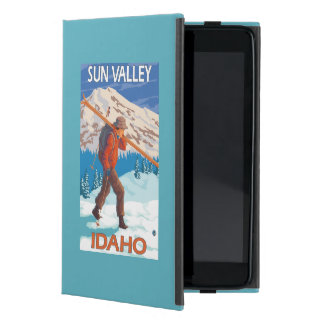 Skier Carrying Snow Skis- Vintage Travel 2 Cover For iPad Mini