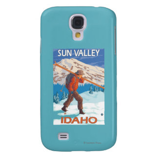 Skier Carrying Snow Skis- Vintage Travel 2 Galaxy S4 Case