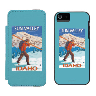 Skier Carrying Snow Skis- Vintage Travel 2 Incipio Watson™ iPhone 5 Wallet Case