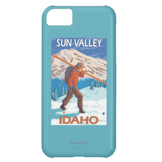 Skier Carrying Snow Skis- Vintage Travel 2 iPhone 5C Case