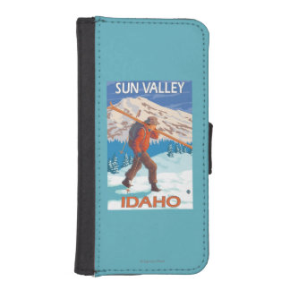 Skier Carrying Snow Skis- Vintage Travel 2 iPhone SE/5/5s Wallet Case