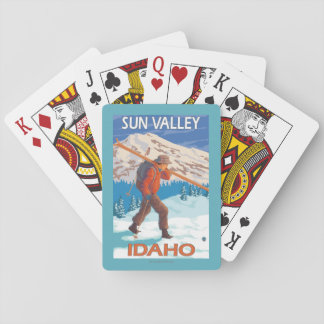 Skier Carrying Snow Skis- Vintage Travel 2 Playing Cards