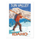 Skier Carrying Snow Skis- Vintage Travel 2 Postcard