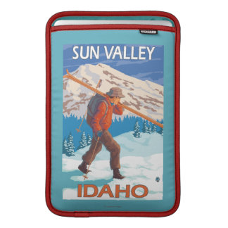 Skier Carrying Snow Skis- Vintage Travel 2 Sleeves For MacBook Air