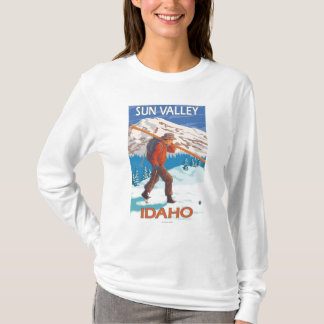 Skier Carrying Snow Skis- Vintage Travel 2 T-Shirt