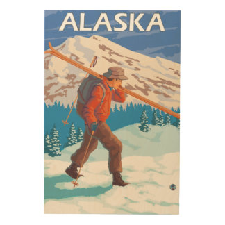 Skier Carrying Snow Skis- Vintage Travel 2 Wood Wall Decor