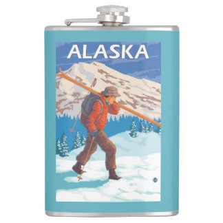 Skier Carrying Snow Skis- Vintage Travel 3 Hip Flask