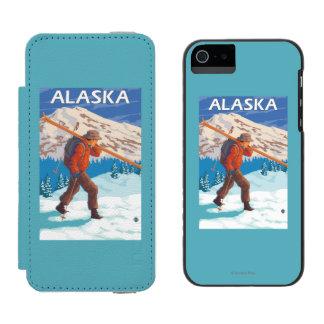 Skier Carrying Snow Skis- Vintage Travel 3 Incipio Watson™ iPhone 5 Wallet Case