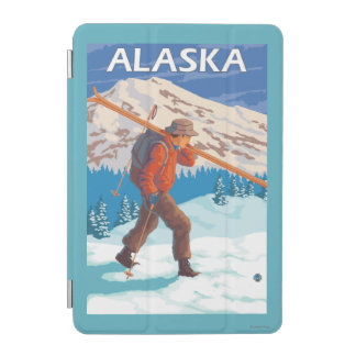 Skier Carrying Snow Skis- Vintage Travel 3 iPad Mini Cover