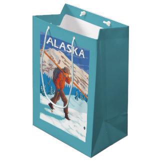Skier Carrying Snow Skis- Vintage Travel 3 Medium Gift Bag
