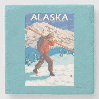Skier Carrying Snow Skis- Vintage Travel 3 Stone Beverage Coaster