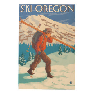 Skier Carrying Snow Skis- Vintage Travel 3 Wood Wall Art
