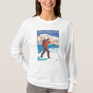 Skier Carrying Snow Skis- Vintage Travel T-Shirt