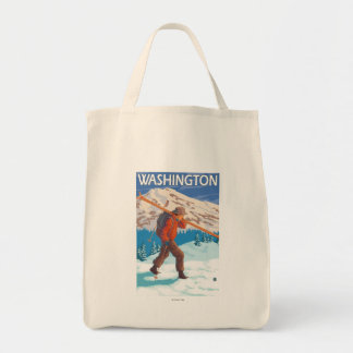 Skier Carrying Snow Skis - Washington