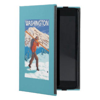 Skier Carrying Snow Skis - Washington Cover For iPad Mini