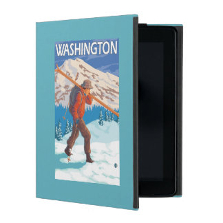 Skier Carrying Snow Skis - Washington iPad Cover