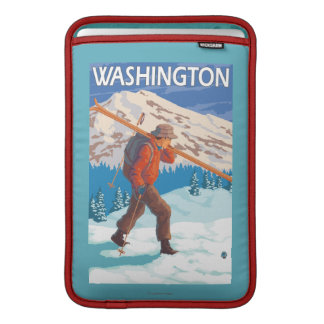 Skier Carrying Snow Skis - Washington Sleeve For MacBook Air