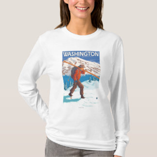Skier Carrying Snow Skis - Washington T-Shirt
