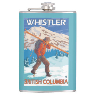 Skier Carrying Snow Skis - Whistler, BC Canada Hip Flask