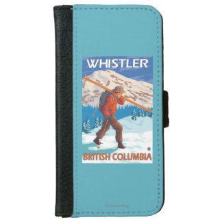 Skier Carrying Snow Skis - Whistler, BC Canada iPhone 6 Wallet Case