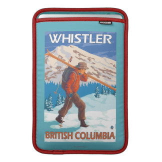Skier Carrying Snow Skis - Whistler, BC Canada MacBook Air Sleeves
