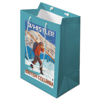 Skier Carrying Snow Skis - Whistler, BC Canada Medium Gift Bag