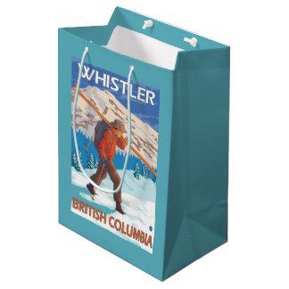 Skier Carrying Snow Skis - Whistler, BC Canada Medium Gift Bag