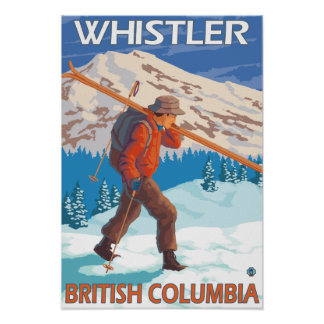 Skier Carrying Snow Skis - Whistler, BC Canada Poster