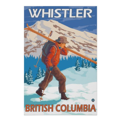 Skier Carrying Snow Skis - Whistler, BC Canada Print