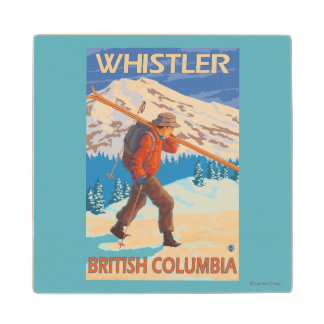 Skier Carrying Snow Skis - Whistler, BC Canada Wood Coaster