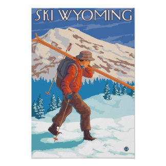 Skier Carrying Snow Skis - Wyoming Poster