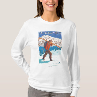Skier Carrying Snow Skis - Wyoming T-Shirt