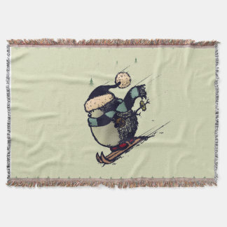 Skier hedgehog throw blanket