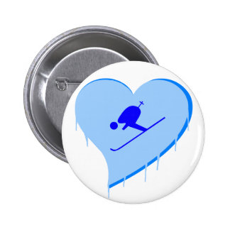 Skier Ice Heart 6 Cm Round Badge