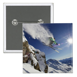 Skier in Midair 15 Cm Square Badge
