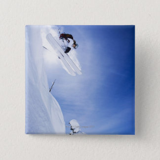 Skier Jumping 15 Cm Square Badge