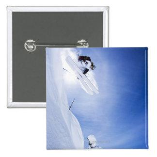 Skier Jumping 15 Cm Square Badge