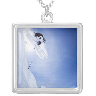 Skier Jumping Silver Plated Necklace