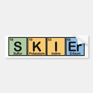 Skier made of Elements Bumper Sticker