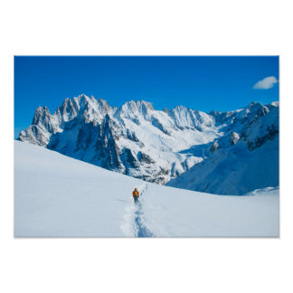 Skier on Snowy Mountain Vista Poster