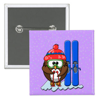 skier owl 15 cm square badge
